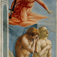 Brancacci Chapel. The expulsion of Adam and Eve from the Garden of Eden