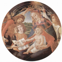 Сандро Боттичелли. Мадонна, сцена: Мария с младенцем Христом и пятью ангелами, тондо