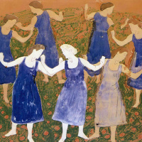 Фердинанд Ходлер. Хоровод девушек в синих платьях
