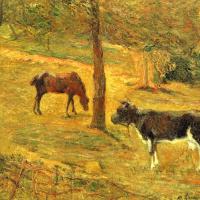 Лошадь и корова на лугу
