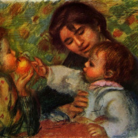 Portrait of Jean Renoir and Gabrielle with her child