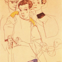 Egon Schiele. Triple self portrait