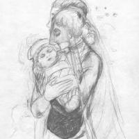 Наталья Сергеевна Гончарова. Колыбельная (эскиз иллюстрации к поэме М. Цветаевой «Молодец»)