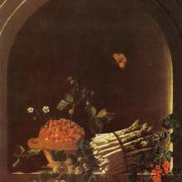 Адриан Коорт (Коорте). Натюрморт со спаржей, крыжовником, клубникой и другими фруктами в нише