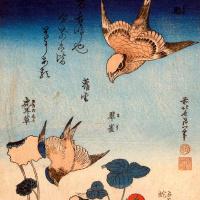 Кацусика Хокусай. Земляника и ласточки