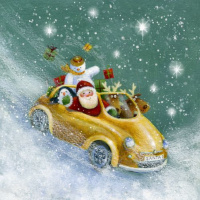 Santa with friends in the yellow car