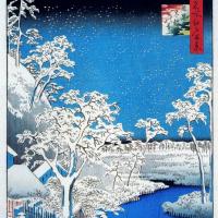 Утагава Хиросигэ. Мост Тайко в Мэгуро заснеженным вечером