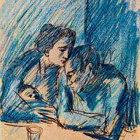 Мужчина и женщина с ребенком в кафе