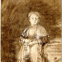 Рембрандт Харменс ван Рейн. Стоящая женщина со свечой