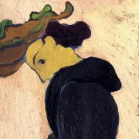Jean Edouard Vuillard. Profile of a woman in a green hat