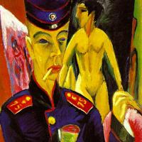 Self-portrait in soldier's uniform