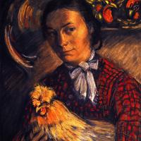 Франц Марк. Портрет жены фермера с курицей