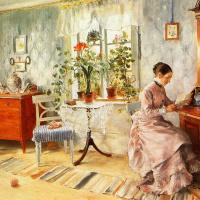 Карл Ларссон. Интерьер с читающей женщиной