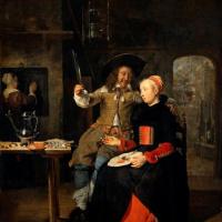 Габриель Метсю. Автопортрет с женой Изабеллой де Вольф в таверне