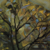 Силуэты деревьев с яркими цветами