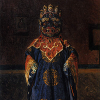 Lama of the red sect, in full dress