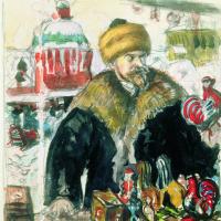 Борис Михайлович Кустодиев. Автопортрет (в шубе). Эскиз