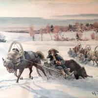 """Александр Сергеевич Хренов. Из цикла """"Царская охота"""". 191538,1 х 50,8."""