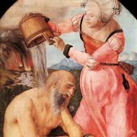 Альбрехт Дюрер. Алтарь Иова (Алтарь Ябаха). Левая панель: Иов и его жена