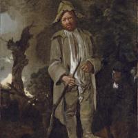 Пожилой крестьянин с ослом на фоне пейзажа
