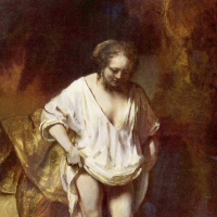 Рембрандт Харменс ван Рейн. Купание, портрет Хендрикье