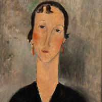 Amedeo Modigliani. Portrait of woman with earrings
