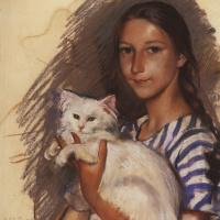 Portrait of Natasha Lancere with a cat