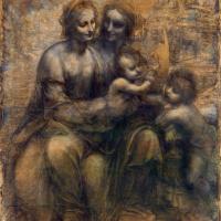 Леонардо да Винчи. Мадонна с младенцем, святой Анной и Иоанном Крестителем