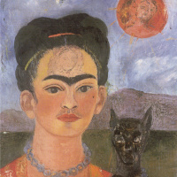 Self-portrait with a portrait of Diego on the breast and Maria between the eyebrows
