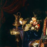 Виллем ван Алст. Натюрморт с кувшином, фруктами и дичью