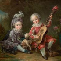 Дети маркиза де Бетюн играют с собакой