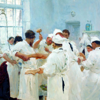 Илья Ефимович Репин. Хирург Е. В. Павлов в операционном зале