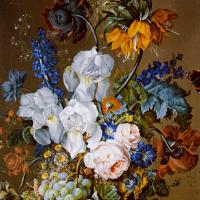 Антон Гартингер. Цветочный натюрморт с гранатом, виноградом и бабочками