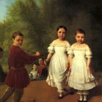 Портрет детей Панаевых с няней