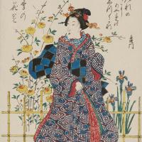 Утагава Хиросигэ. В саду с ирисами и желтыми розами