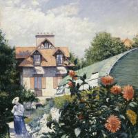 Георгины в саду в Пти-Женвилье