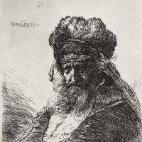Рембрандт Ван Рейн. Старик в высокой меховой шапке с опущенными глазами