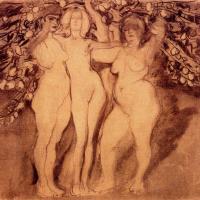 Осеннее солнце, три богини (эскиз)