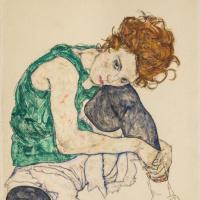 Эгон Шиле. Сидящая женщина с согнутым коленом