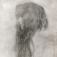 Густав Климт. Профиль девушки с длинными волосами