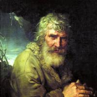 Аллегорическое изображение зимы в виде старика, греющего руки у огня
