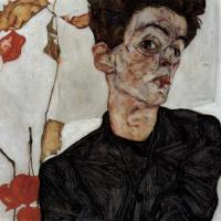 Эгон Шиле. Автопортрет с цветами-фонариками