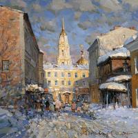 Rybinsk. Voznesensky lane. Oil on canvas 40.5 x 40.5 cm. 2016