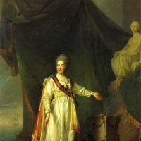 Портрет Екатерины II в виде законодательницы в храме богини правосудия .