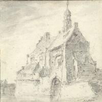 Ян ван Гойен. Здание с остроконечной крышей