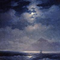 Морской вид при луне