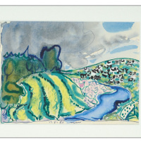 Landscape with river and cows. 1985 white