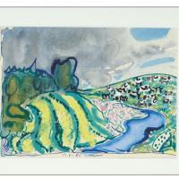 Пейзаж с рекой и коровами. 1985   белила