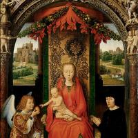 Малый триптих Святого Иоанна Крестителя. Центральная панель:  Мария с ребенком на троне, ангел и неизвестный донатор