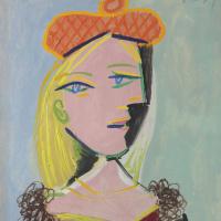 Женщина в оранжевом берете и с меховым воротником (Мария-Тереза)